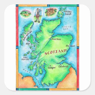 Karte von Schottland Quadratischer Aufkleber