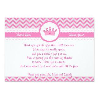 Karten-Anmerkung Prinzessin-Silver Pink Thank You 12,7 X 17,8 Cm Einladungskarte