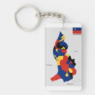 Karten-Formflagge Liechtenstein-Landes politische Beidseitiger Rechteckiger Acryl Schlüsselanhänger