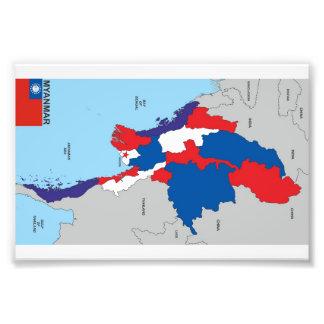 Karten-Formflagge Myanmar-Landes politische Kunst Fotos