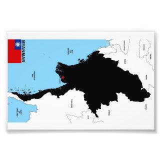 Karten-Formflagge Myanmar-Landes politische Kunstphoto