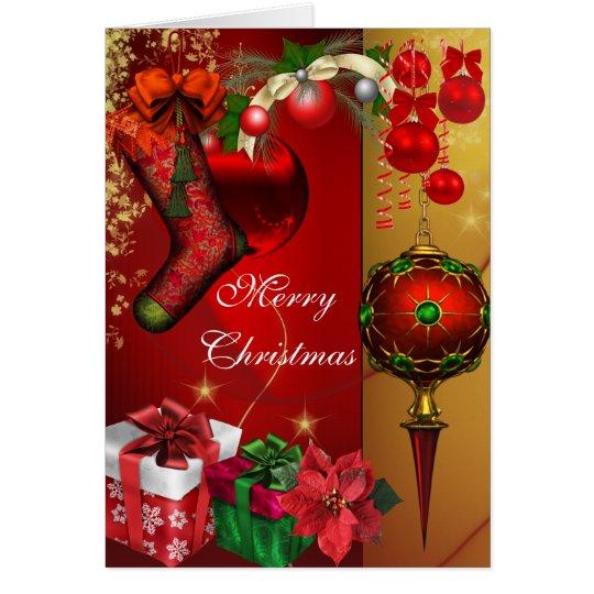 Karten-fröhliches Weihnachtsgoldrotes weißes Grußkarte