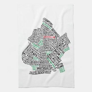 Karten-Tee-Tuch Brooklyns New York Calligram Handtuch