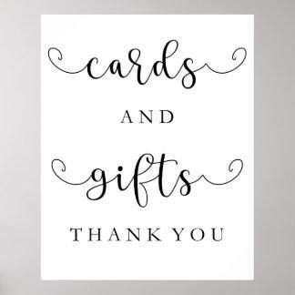 Karten und Geschenke, die Zeichen Wedding sind Poster