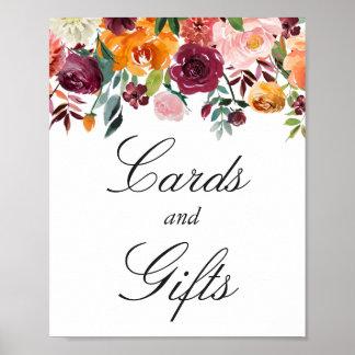 Karten und rosa Blumen des Geschenk-Zeichen-  Poster