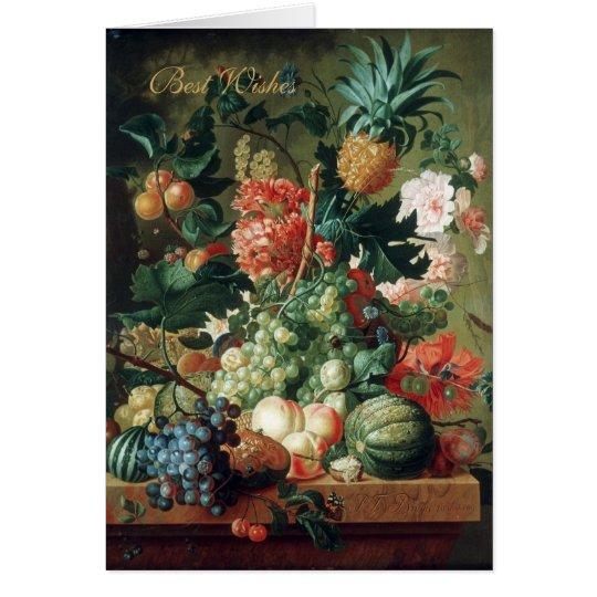 Karten-Vintage Kunst-noch Leben-Blumen mit Frucht Karte