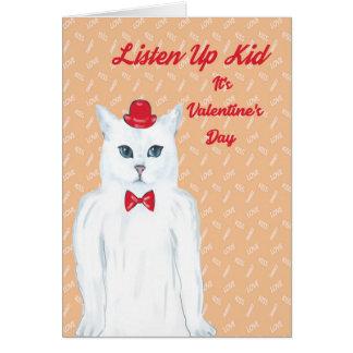 Karten-weiße Katze des Valentines Tages, Hut, Karte