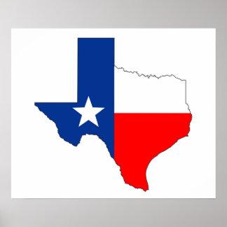 Kartenflaggen-Aufkleberform Texas Vereinigte Poster