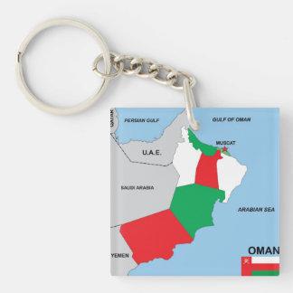 Kartenflaggen-Bezirksregion Oman-Landes politische Beidseitiger Quadratischer Acryl Schlüsselanhänger