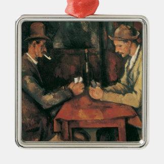 Kartenspieler durch Paul Cezanne, Vintage feine Quadratisches Silberfarbenes Ornament