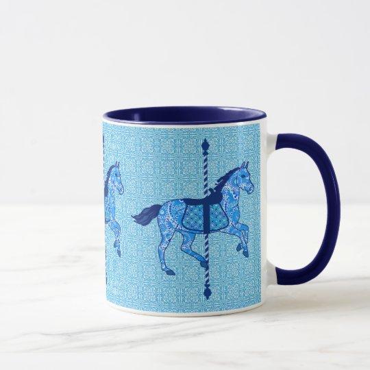 Karussell-Pferd - Kobalt-und Himmel-Blau Tasse