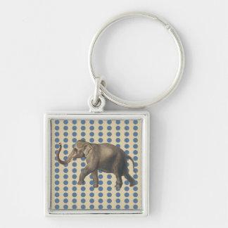 Kaschmir-Gewürz-Stimmungs-Punkte mit Elefanten Silberfarbener Quadratischer Schlüsselanhänger