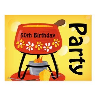 Käse-Fondue-Postkarten-Einladung Postkarte
