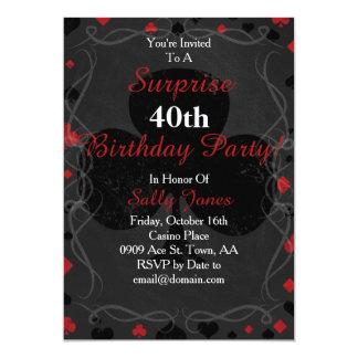 Kasinoartüberraschungs-Geburtstagseinladung 12,7 X 17,8 Cm Einladungskarte