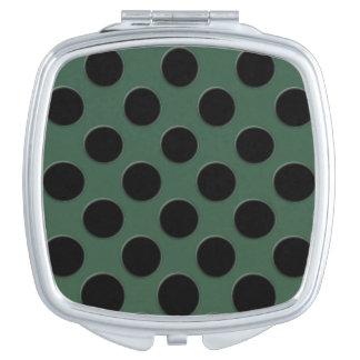 Kaskadierende große schwarze Kreise dunkelgrün Taschenspiegel