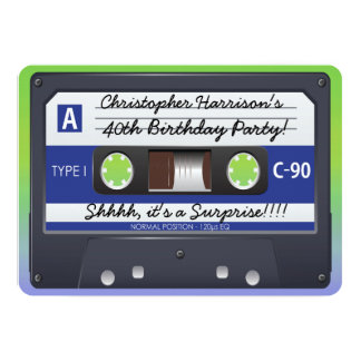 Kassetten-Band 80er des Überraschungs-Party Retro 12,7 X 17,8 Cm Einladungskarte