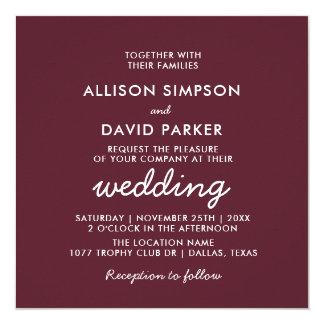Kastanienbraune einfache moderne Hochzeits-Karte Karte