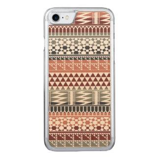 Kastanienbraunes graues geometrisches aztekisches carved iPhone 8/7 hülle