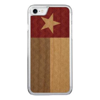 Kastanienbraunes Texas-Flaggen-Gewebe Zickzack Carved iPhone 8/7 Hülle