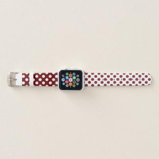 Kastanienbraunes und weißes apple watch armband