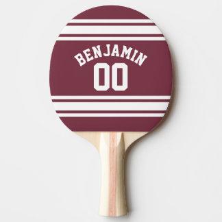 Kastanienbraunes und weißes Jersey Stripes Tischtennis Schläger