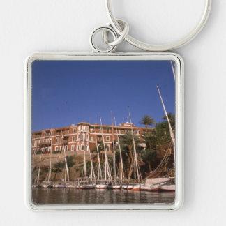 Katarakt Assuans Ägypten Hotel und Feluccas Silberfarbener Quadratischer Schlüsselanhänger