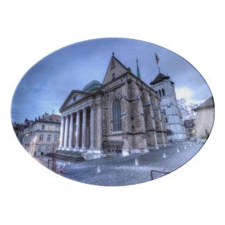 Kathedralen-Saint Pierre, Peter, Genf, die Schweiz Porzellan Servierplatte