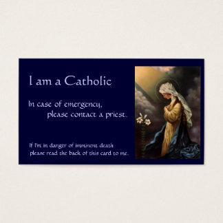 """Katholische Identifikations-Karte """"im Notfall """" Visitenkarte"""