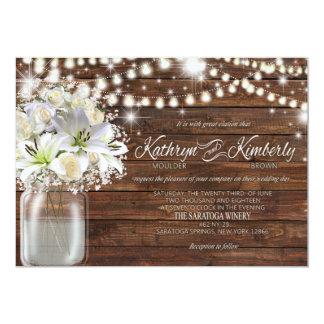 Kathy Mason Jar white flowers Karte