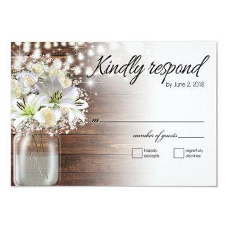 Kathy rsvp Mason Jar white flowers Karte