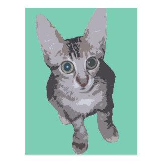Kätzchen-große Augen-Pop-Kunst Postkarte