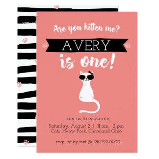 Kätzchen ich erste Geburtstags-Einladung 12,7 X 17,8 Cm Einladungskarte
