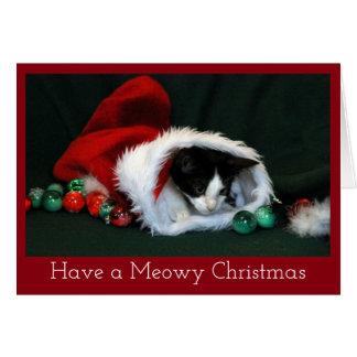 Kätzchen im WeihnachtsStrumpf Karte