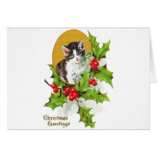 Kätzchen in den Stechpalmen-frohen Weihnachten Karte
