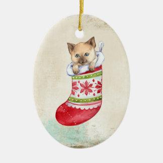 Kätzchen in der Strumpf-Verzierung Keramik Ornament