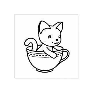 Kätzchen in einer Schale - Katze in einem Teacup Gummistempel