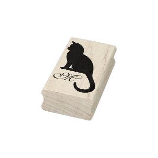 Kätzchen-Silhouette u. Monogramm - GummiBriefmarke Gummistempel