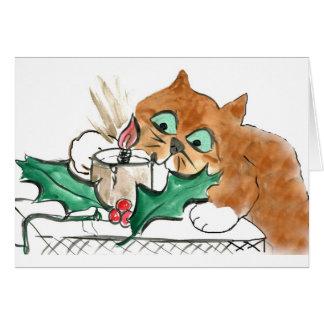 Kätzchen sticht eine elektrische Weihnachtskerze Karte