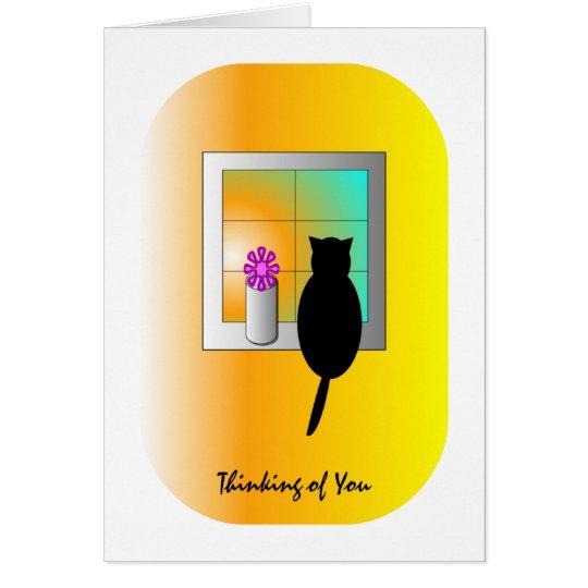 Katze an der Fenster-Karte Grußkarte