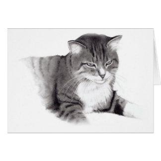Katze: Bleistift-Zeichnen: Ursprüngliche Kunst Karte