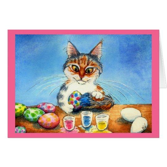 Katze, die Ostereier mit dem Schwanz malt Grußkarte