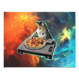 Katze DJ mit der soliden Tabelle des Discjockeys Fotografie