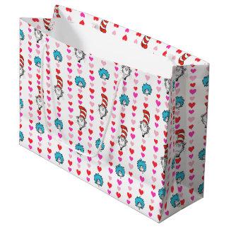 Katze Dr.-Seuss Valentine | im Hut-Herz-Muster Große Geschenktüte