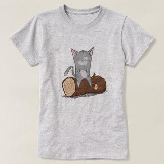 Katze ein Klotz - T - Shirt