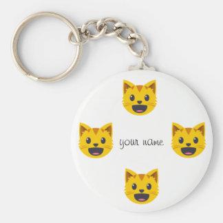 Katze Emoji stellen und '' Ihr Name hier Schlüsselanhänger