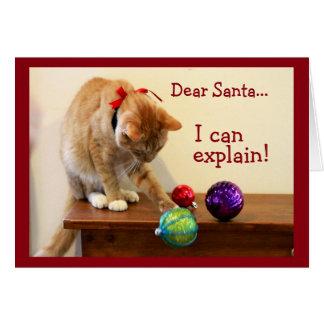 Katze gegen Weihnachtsverzierung Karte