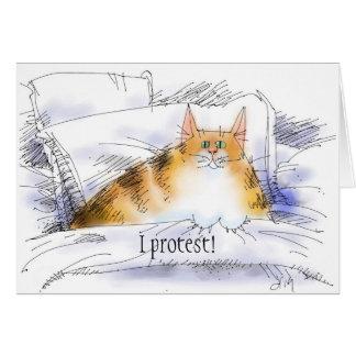 Katze im Bett im Protest Karte