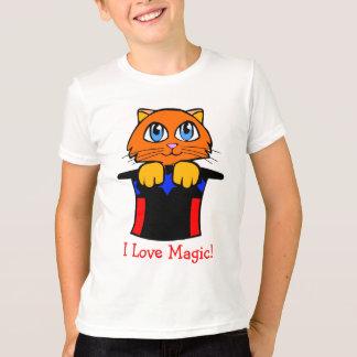 Katze im magischen Hut-Cartoon T-Shirt