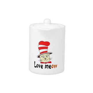 Katze im roten und weißen Hut-Entwurf - Meow-Liebe