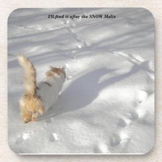 Katze im Schnee Getränkeuntersetzer